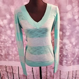 Express Mint & Silver V-Neck Long Sleeve Pullover